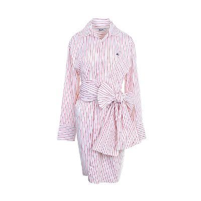 big ribbon point stripe shirt dress